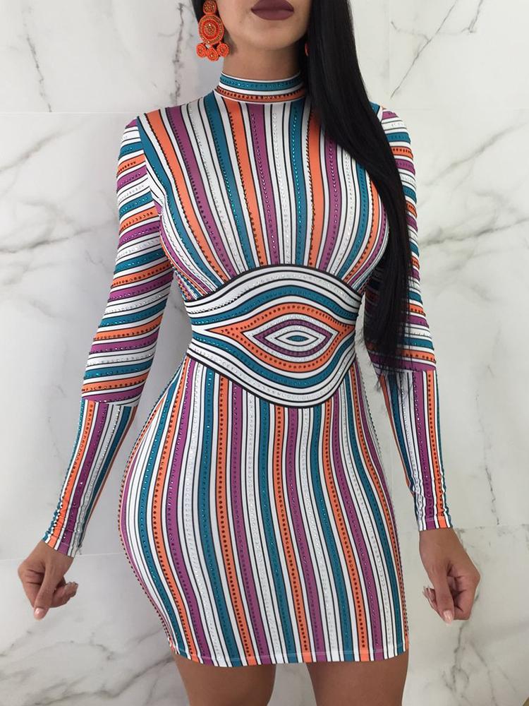 Slinky Colorful Striped Bodycon Dress фото