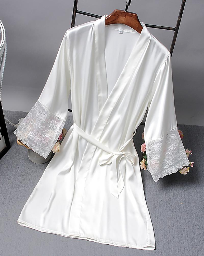 Solid Open Front Long Sleeve Robe фото