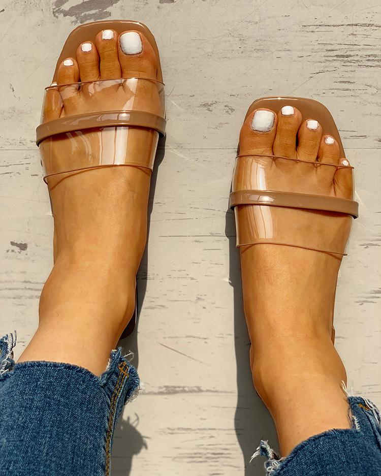 Transparent Single Strap Open Toe Sandals