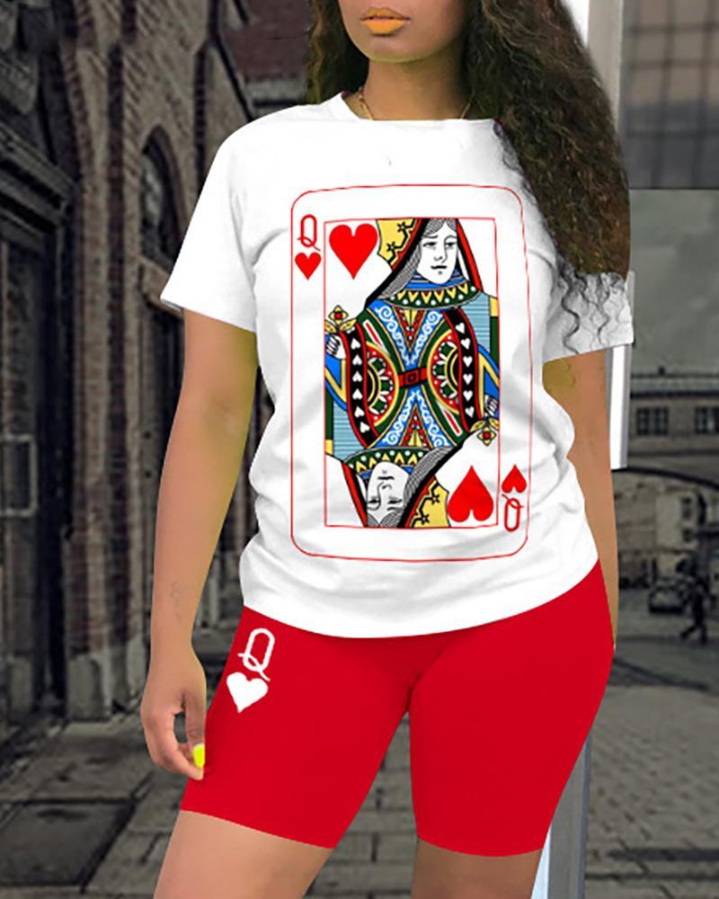 Poker Print Short Sleeve Top & Shorts Set фото