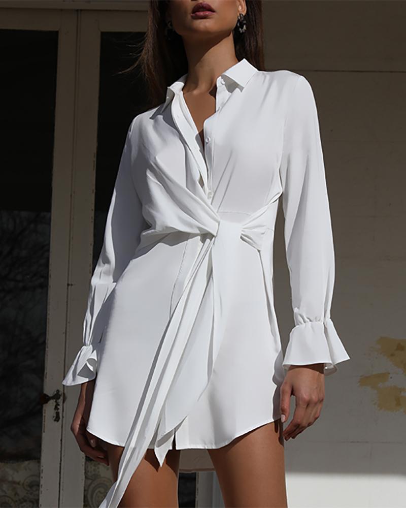 boutiquefeel / Camisa delantera con nudo sólido vestido