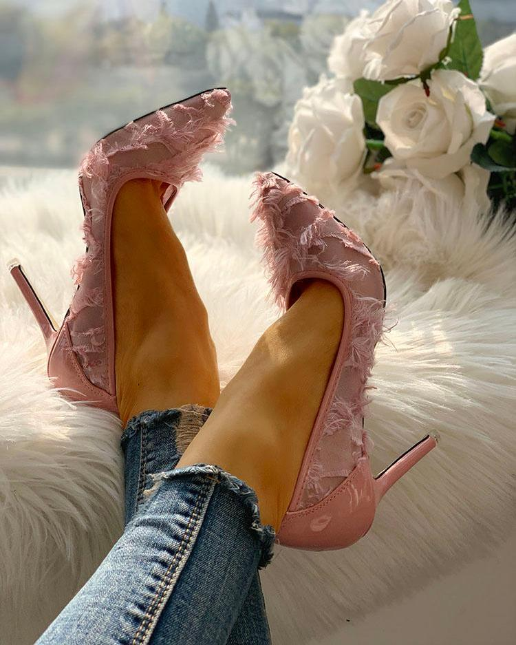 Fluffy & Mesh Pointed Toe Heels