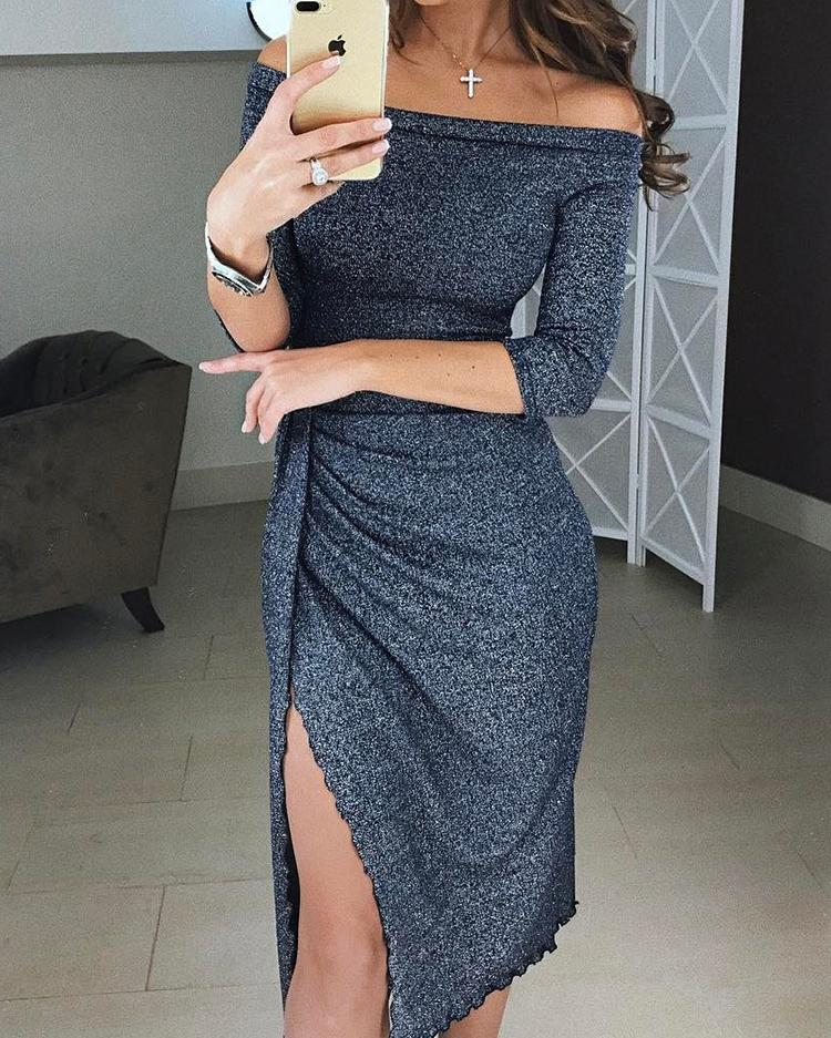 Metalic Off Shoulder Sexy Cocktail Party Pleated Dress фото