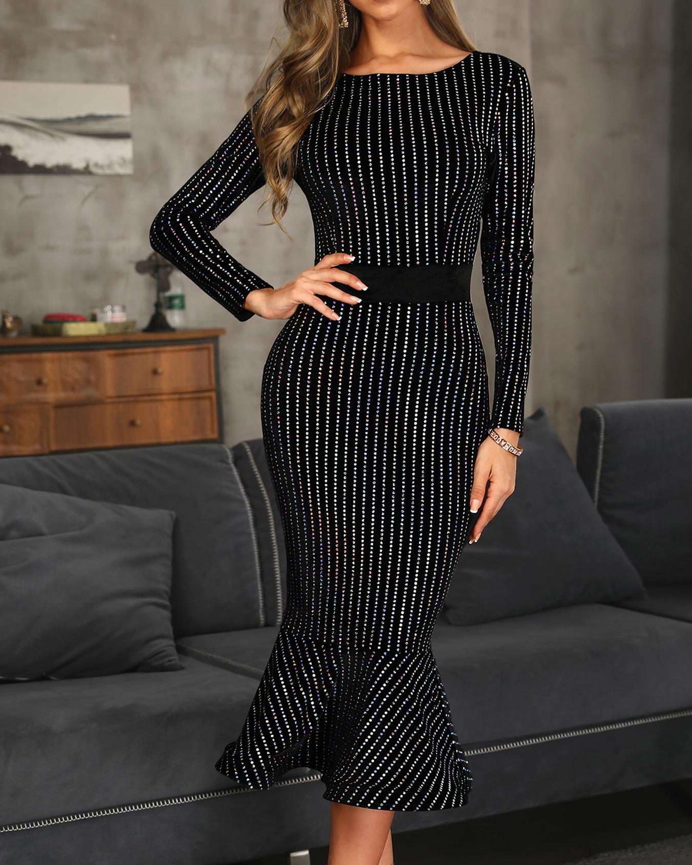 Glitter Stud Detail Long Sleeve Fishtail Dress фото