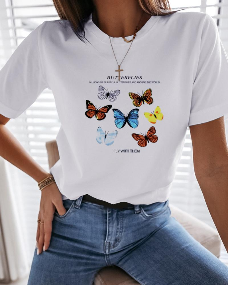 Butterfly Letter Print Glitter T-Shirt фото