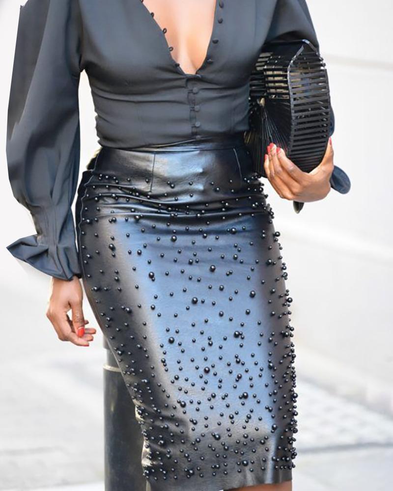 ivrose / Beaded Faux Leather Zipper Slit Skirt