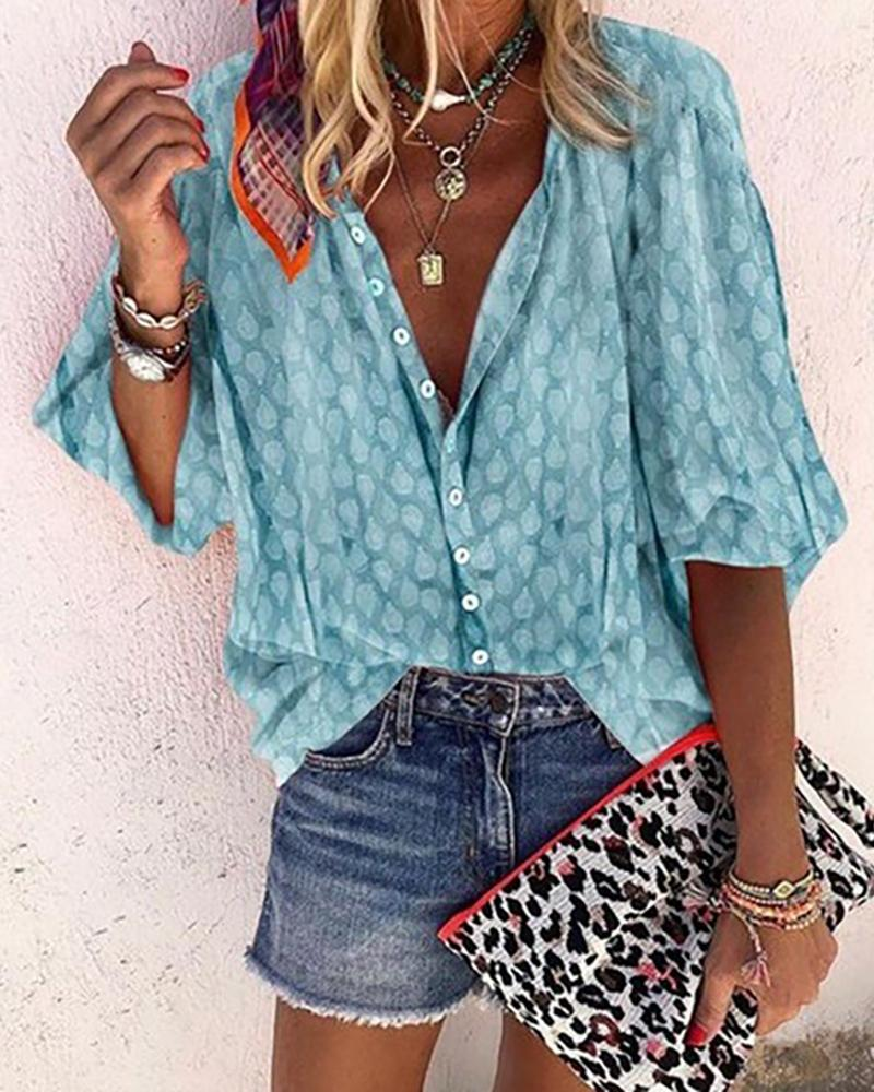 Digital Print Lantern Sleeve Buttoned Shirt, Blue