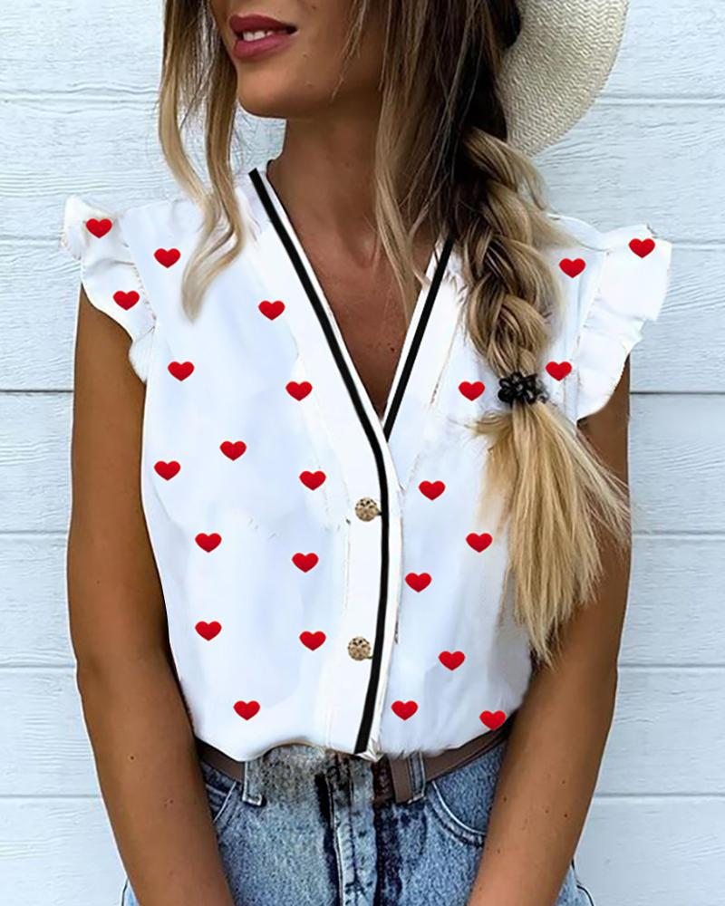 Heart Print Flutter Sleeve Casual Blouse фото