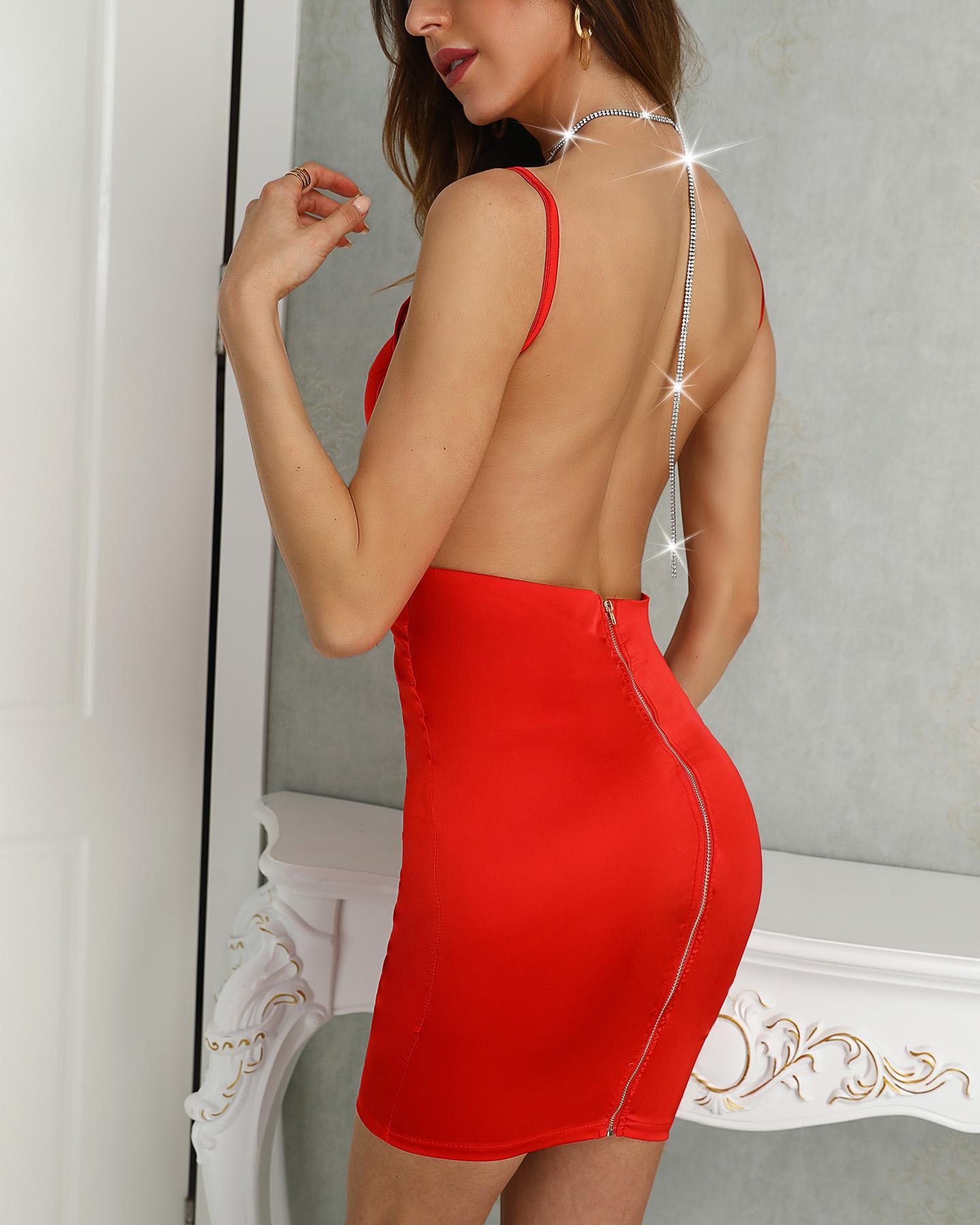 Open Back Spaghetti Strap Bodycon Dress, Red