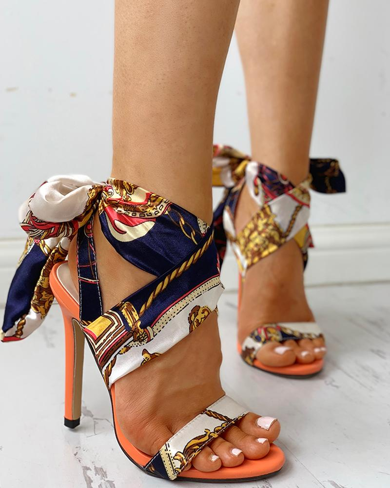 Satin Print Knotted Detail Thin Heeled Sandals фото