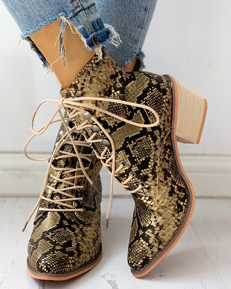 Заостренный носок на шнуровке змеиная кожа коренастый каблуке сапоги