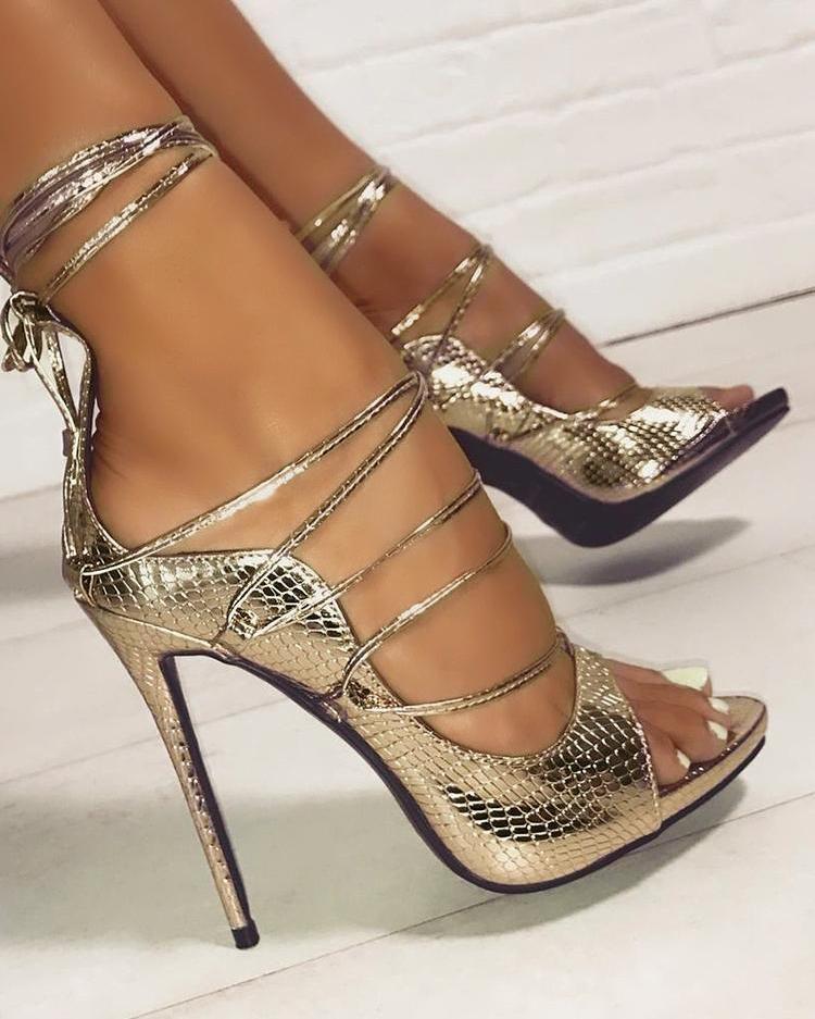 joyshoetique / Snakeskin Lace-Up Thin Heeled Sandals