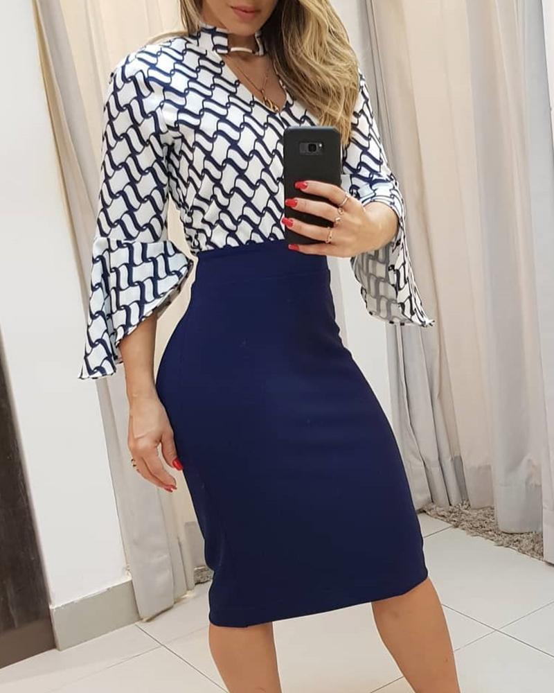 Print Chocker Top & Skirt Sets фото