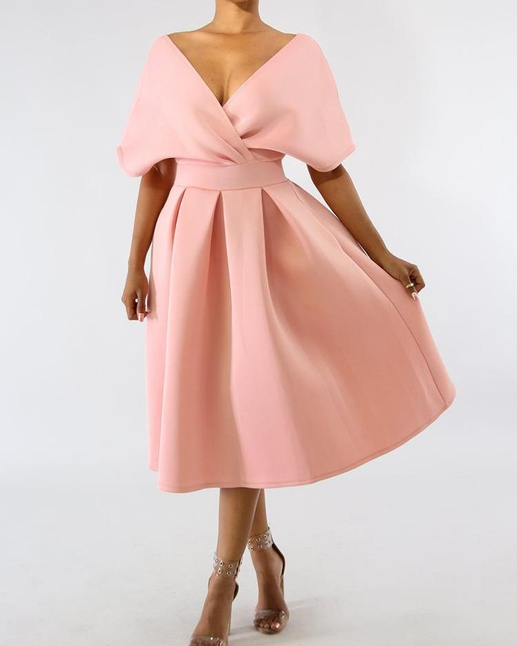 joyshoetique / Solid Zipper Back Batwing Sleeve Pleated Dress
