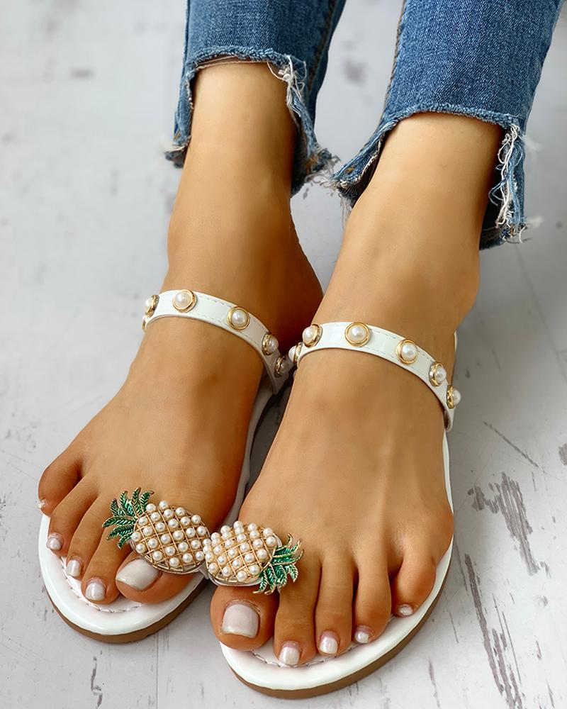 Pineapple Pattern Toe Ring Beaded Casual Sandals фото