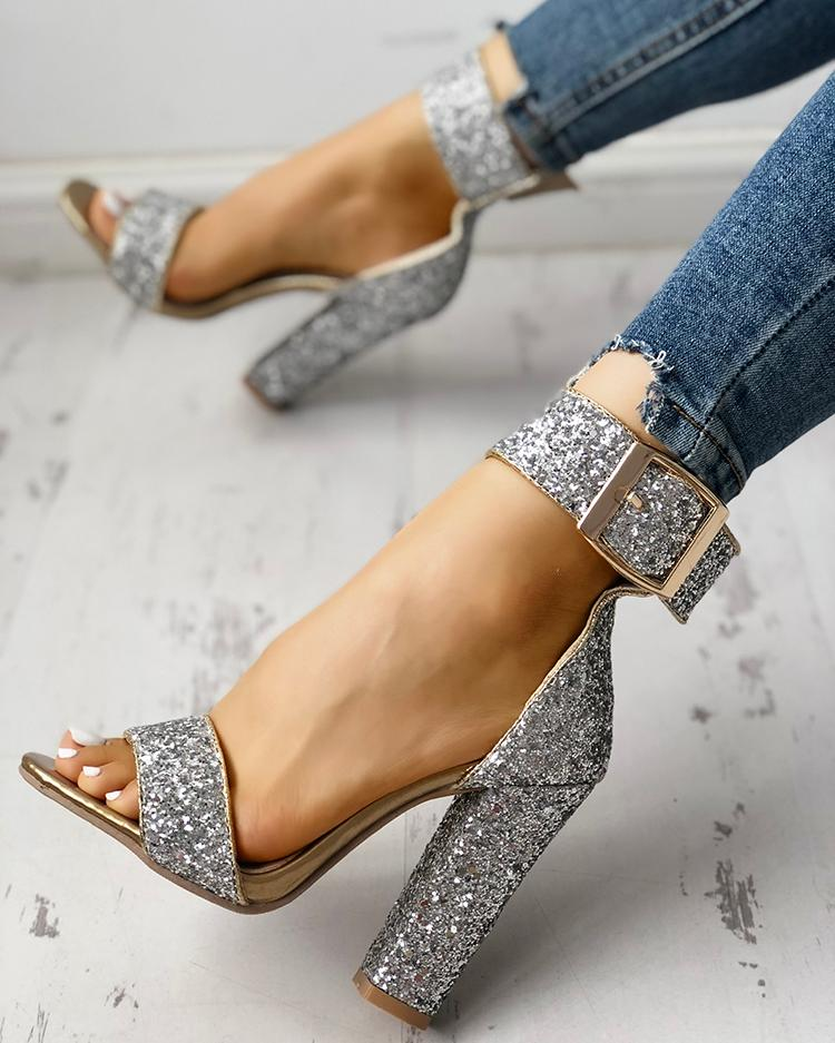 chicme / Stylish Sequin Open Toe Chunky Heeled Sandals