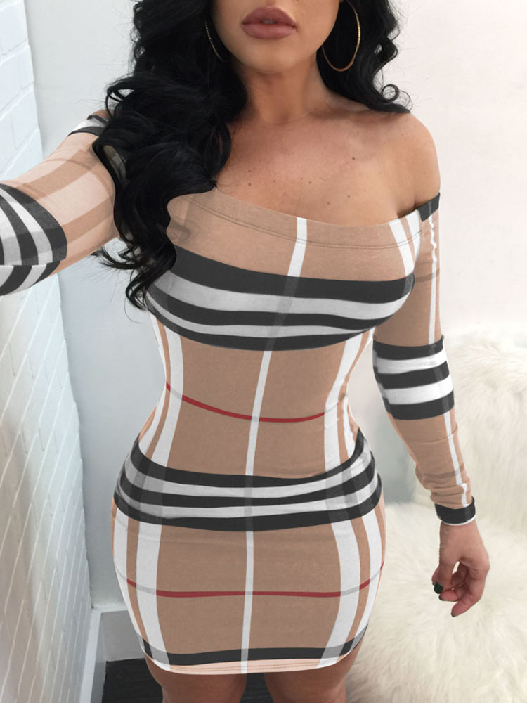 Plaid Slash Neck Bodycon Mini Dress