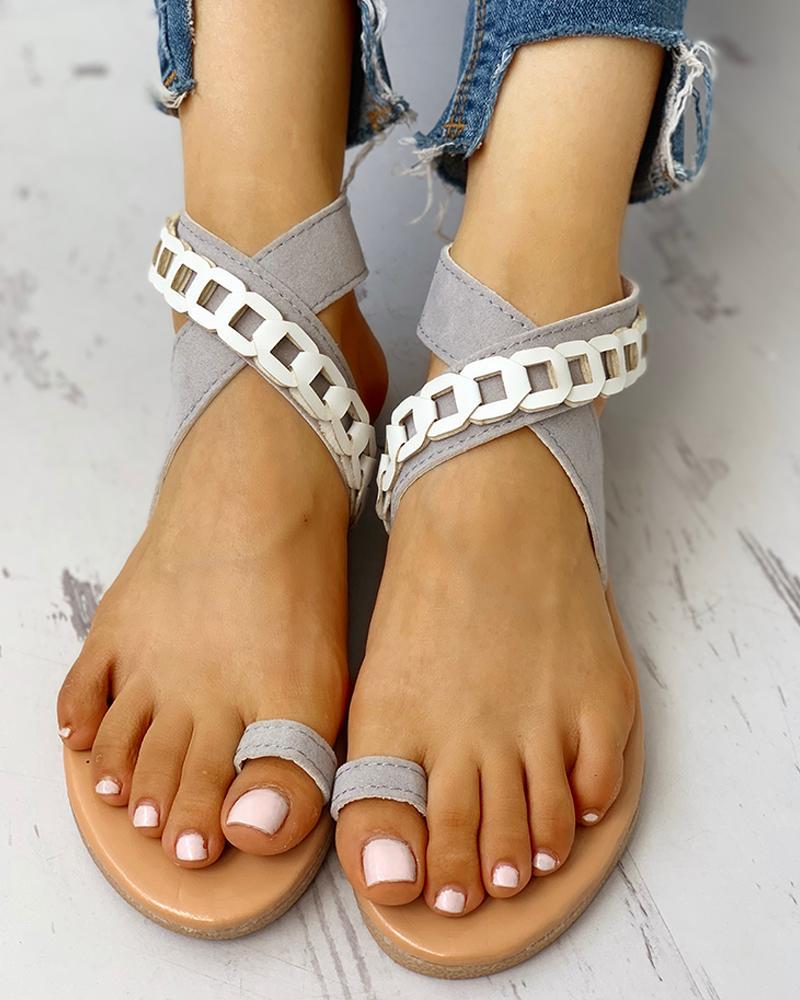 Toe Ring Crisscross Design Casual Sandals фото