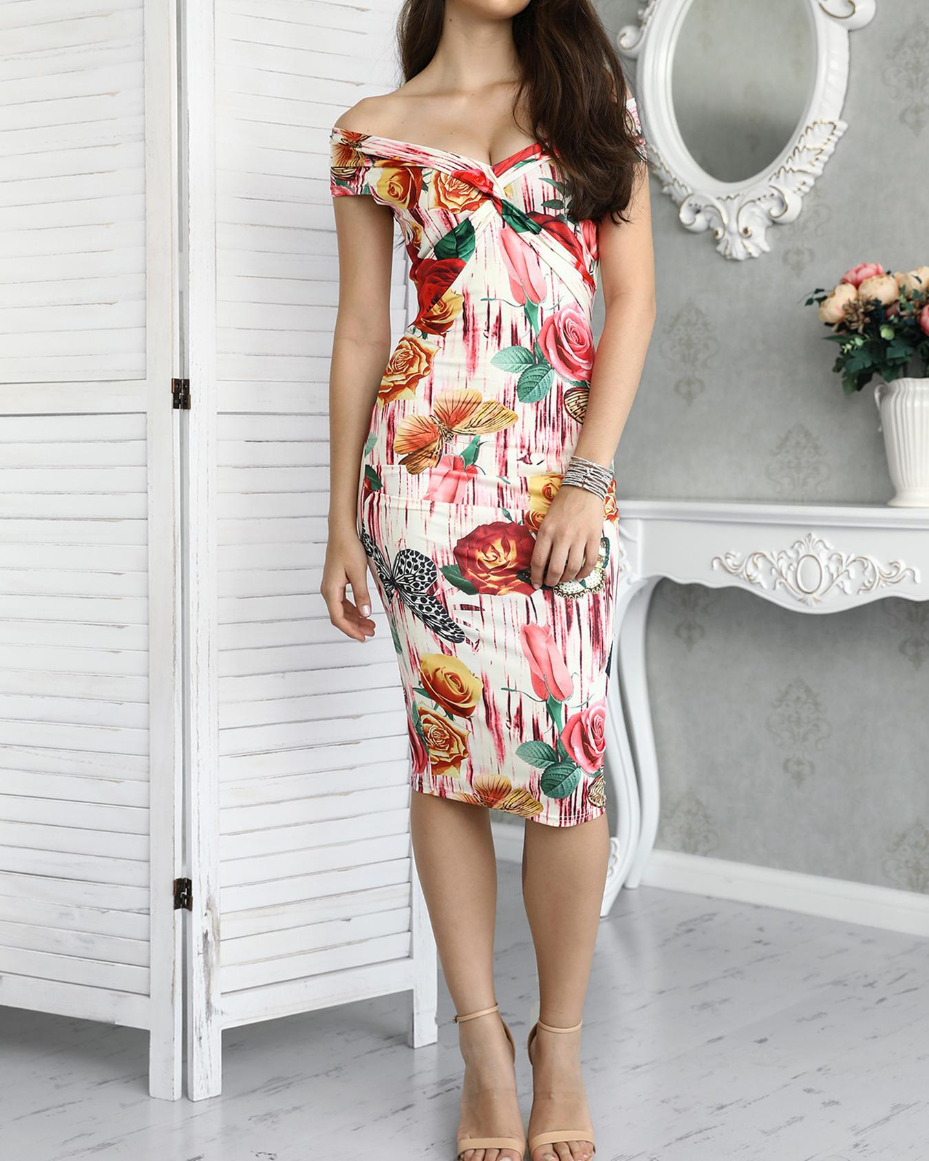 joyshoetique / Vintage Floral Twisted Fold-over Bodycon Midi Dress