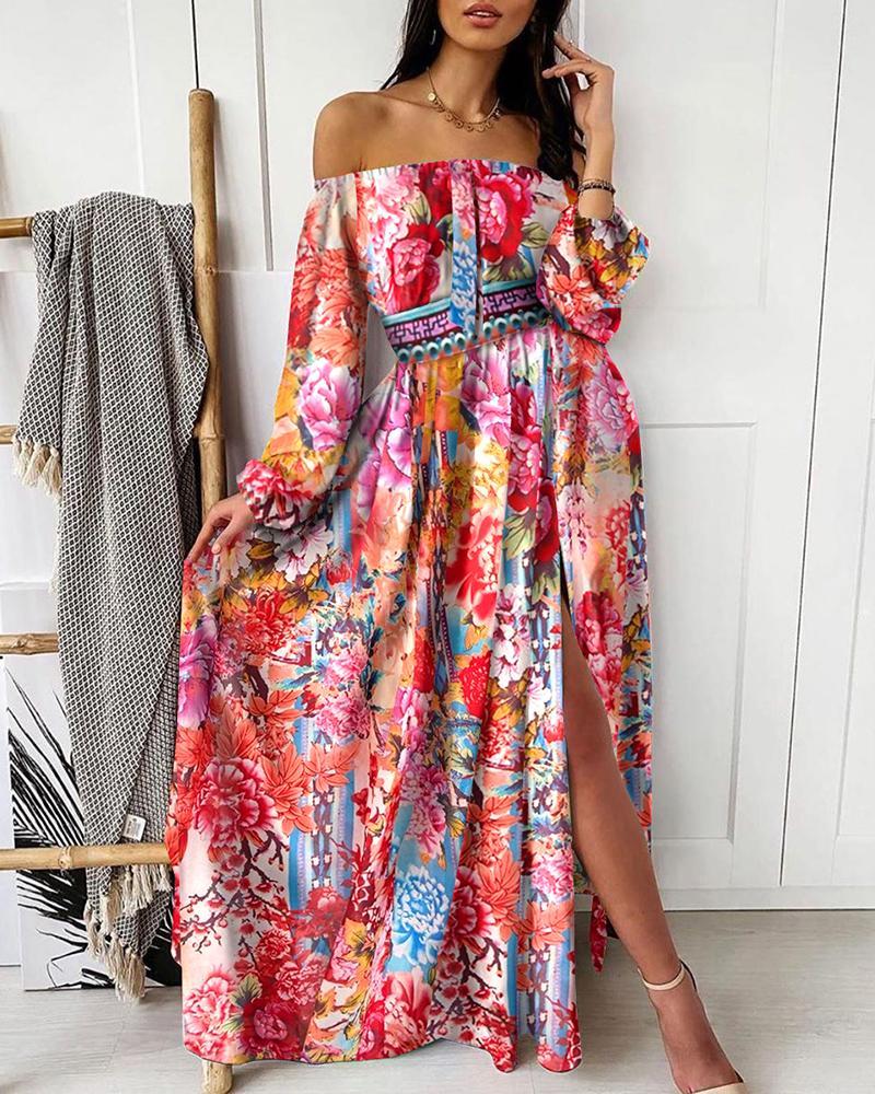 Off Shoulder Floral Print Slit Maxi Dress фото