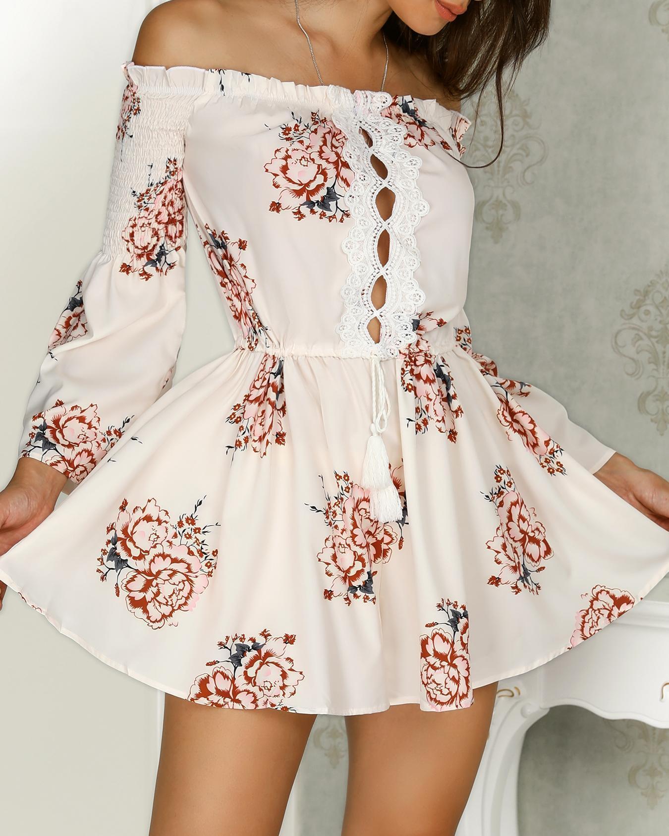 Stylish Print Shirring Off Shoulder Tassel Mini Dress
