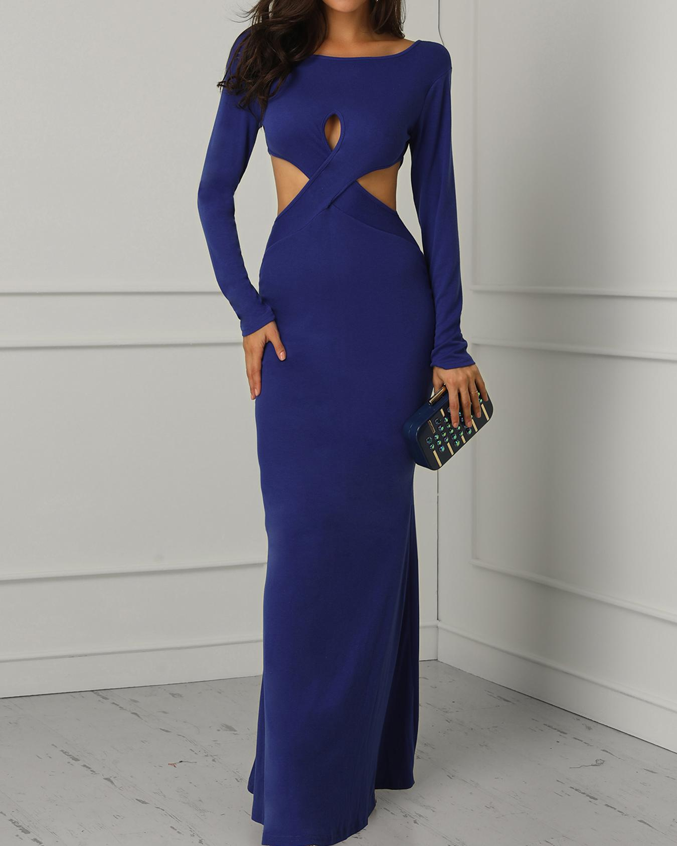 Solid Crisscross Cutout Backless Evening Dress фото