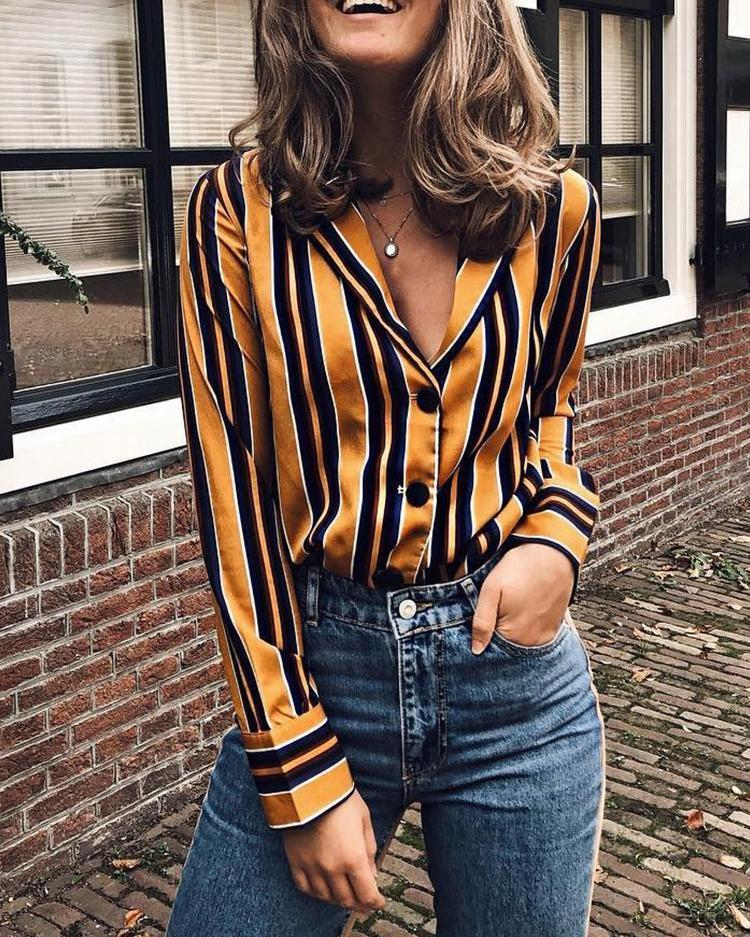 Contrast Stripes Deep V Long Sleeve Blouse фото