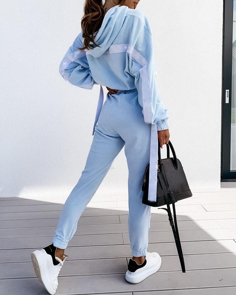 Striped Tape Colorblock Hooded Top & Pocket Design Pants Set фото