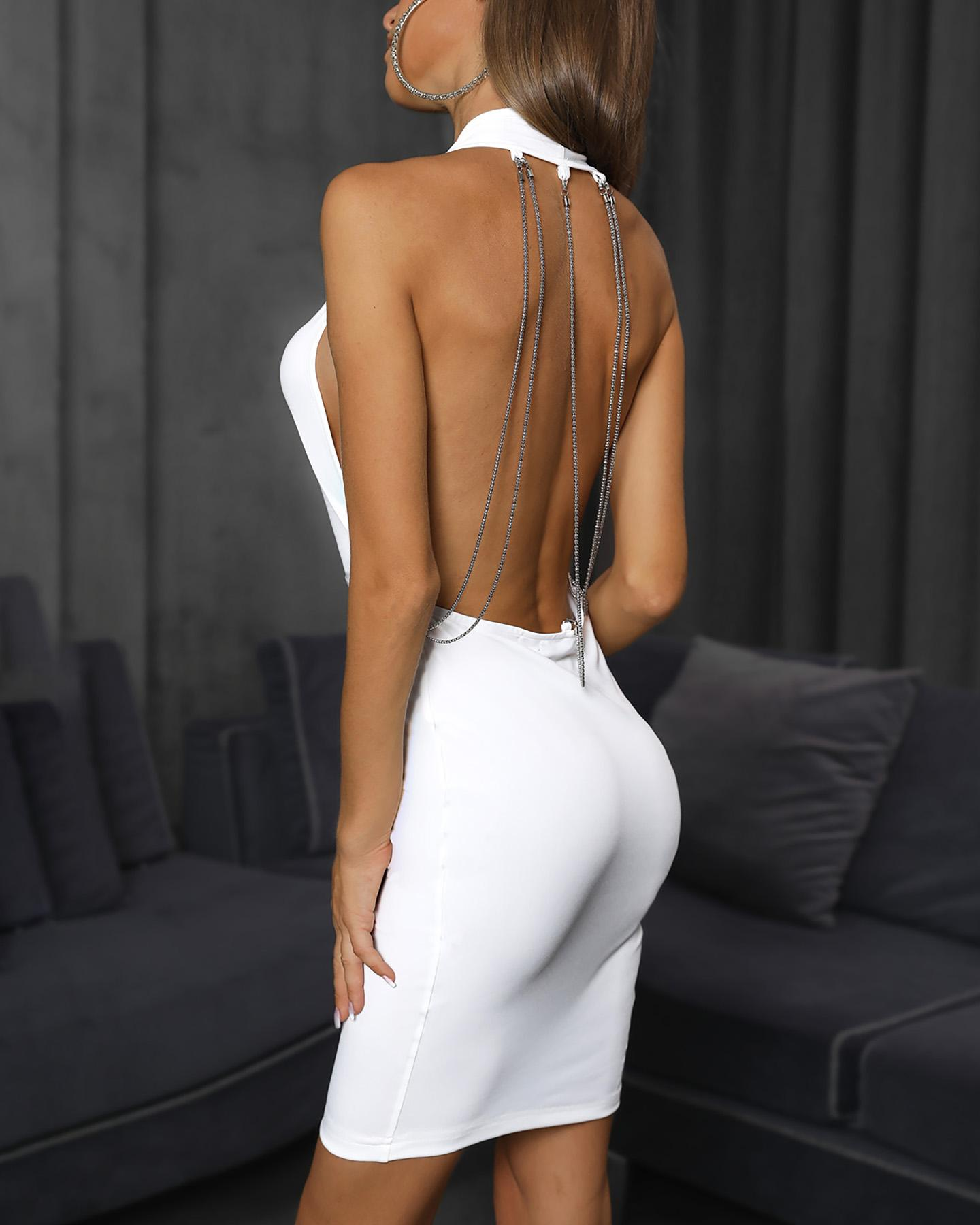 Halter Backless Metal Chain Plunge Bodycon Dress фото