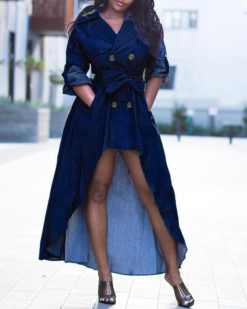 Notched Collar Double-breasted Dip Hem Denim Dress фото