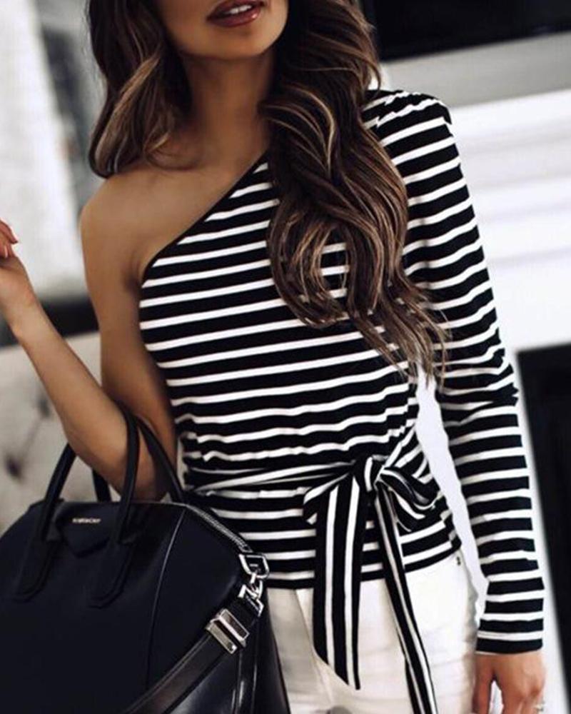 One Shoulder Tie Waist Striped Top фото