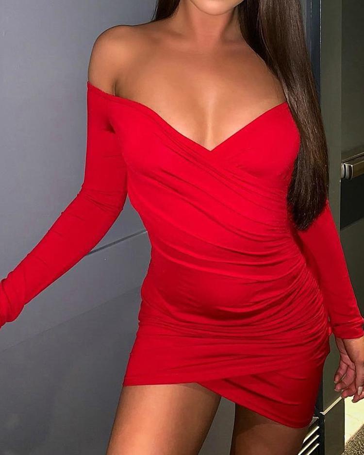 Off Shoulder Surplice Wrap Ruched Bodycon Dress