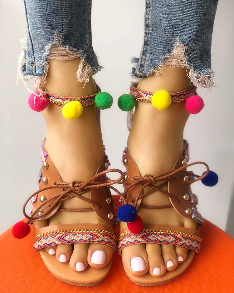 Boho Style Pom Pom Lace-up Flat Sandals