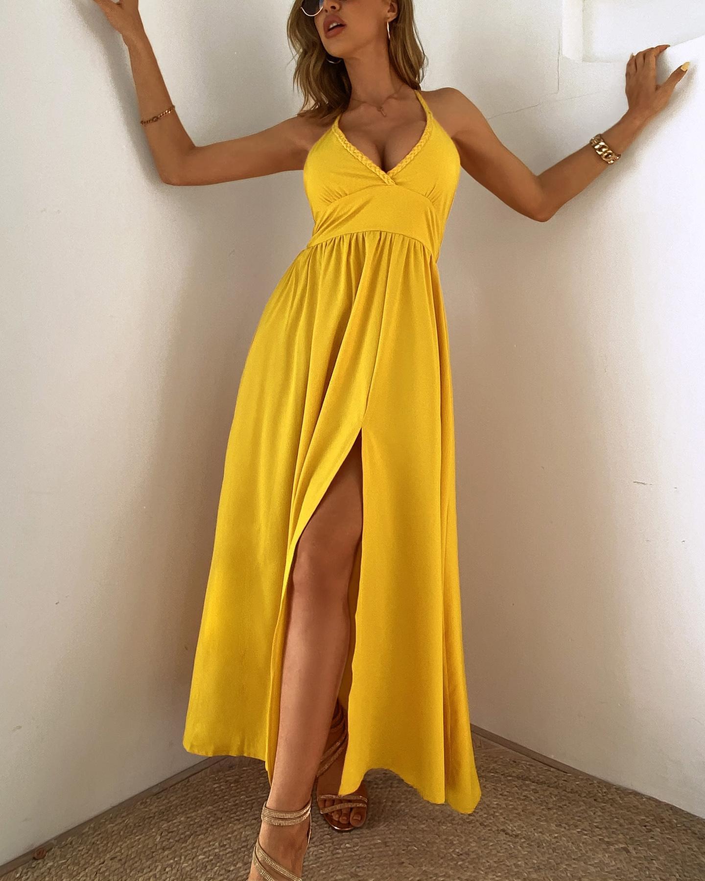 Plunge Thigh Slit Ruched Sleeveless Maxi Dress фото
