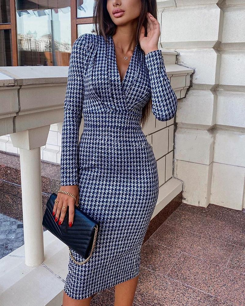 chicme / Sexy Houndstooth Long Sleeve Dress