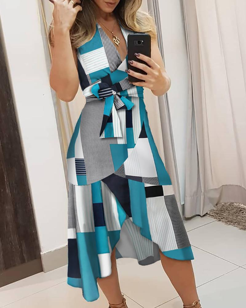 V-neck Colorblock Knotted Irregular Dress фото