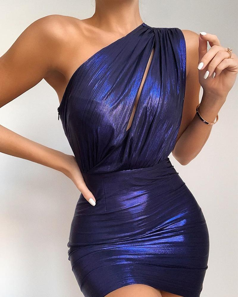 One Shoulder Ruched Cutout Bodycon Dress фото