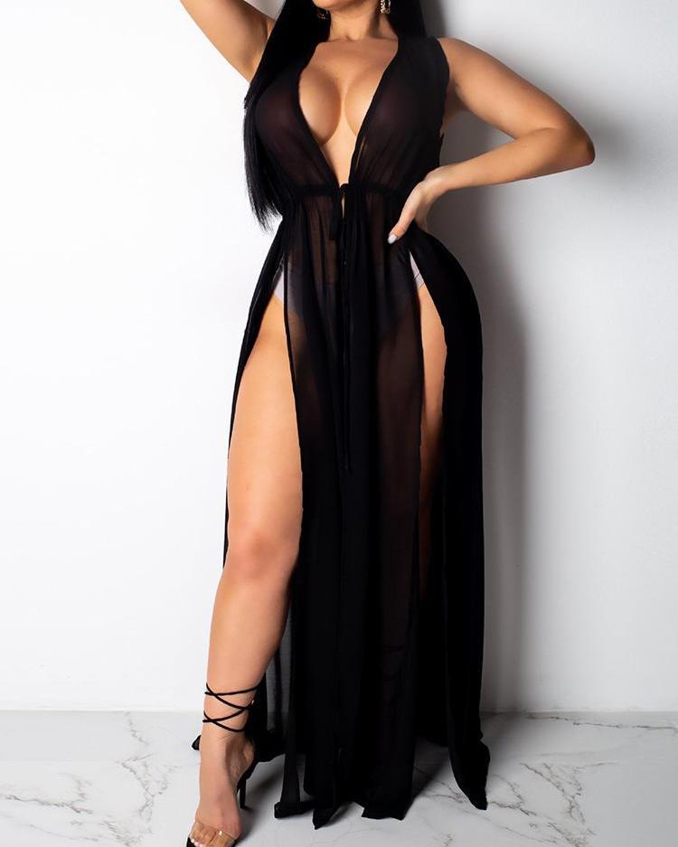 Chiffon Thigh Slit Beach Dress Cover Ups