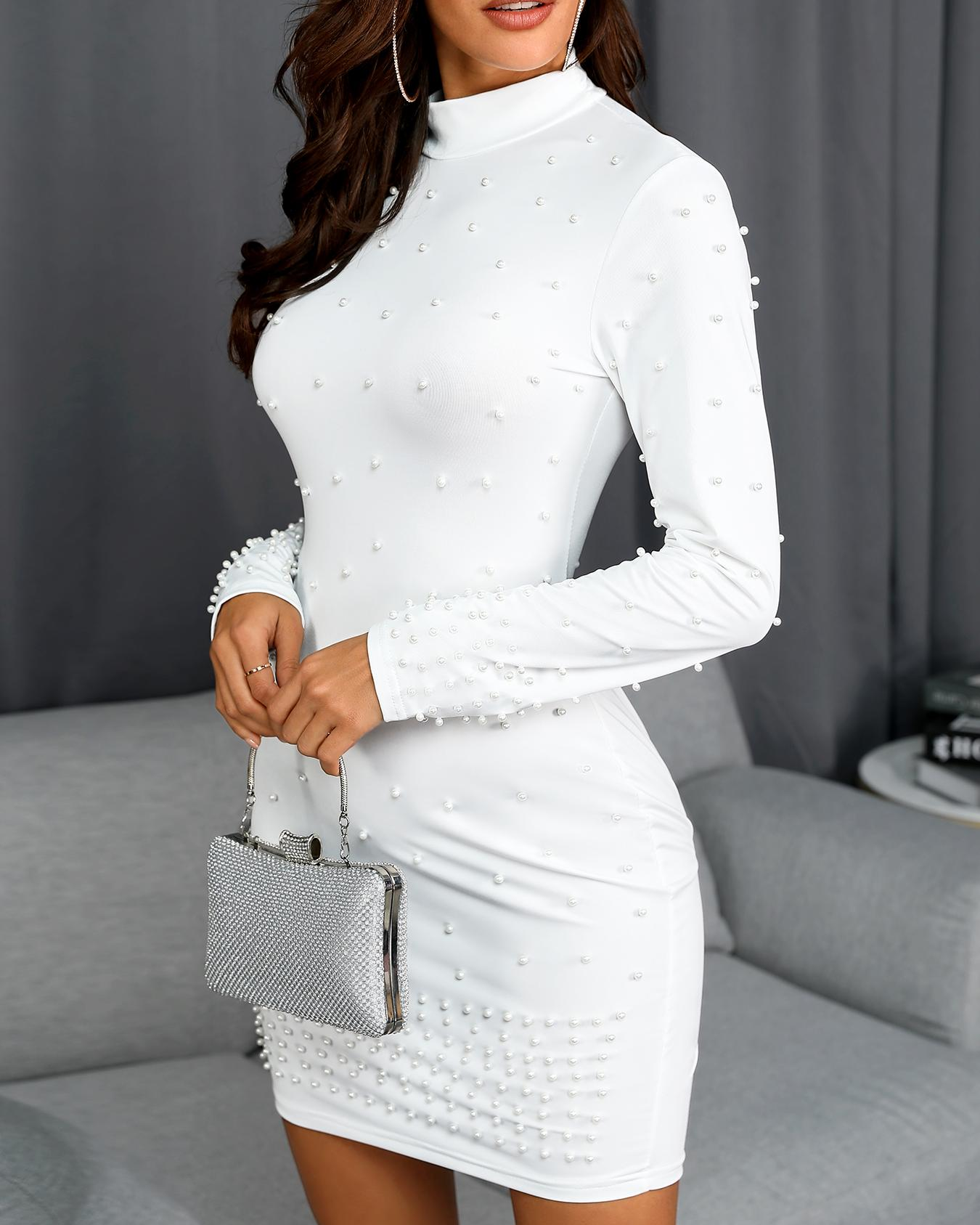 Beading Embellished Long Sleeve Bodycon Dress