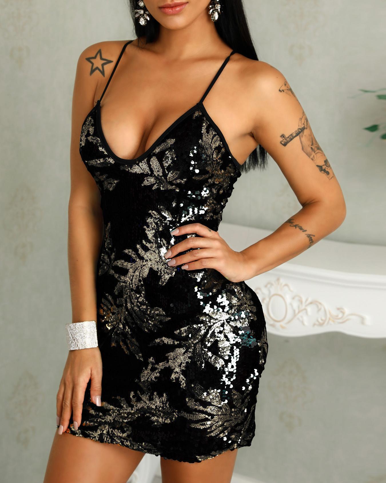Low Cut Bodycon Mini Sequin Party Dress фото