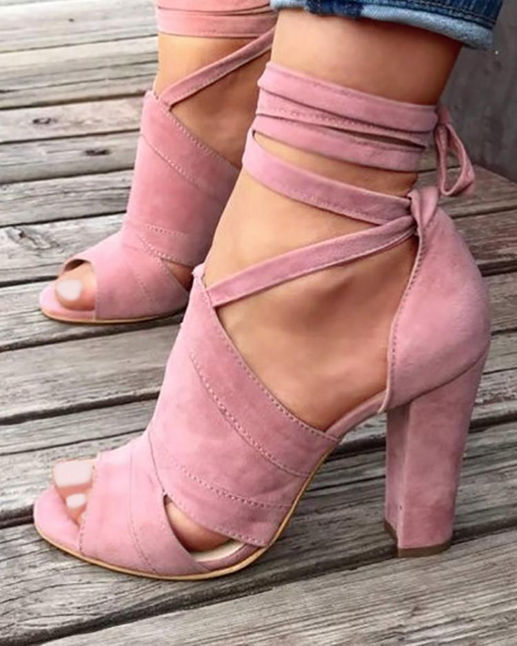 joyshoetique / Lace Up Block Heels Sandals