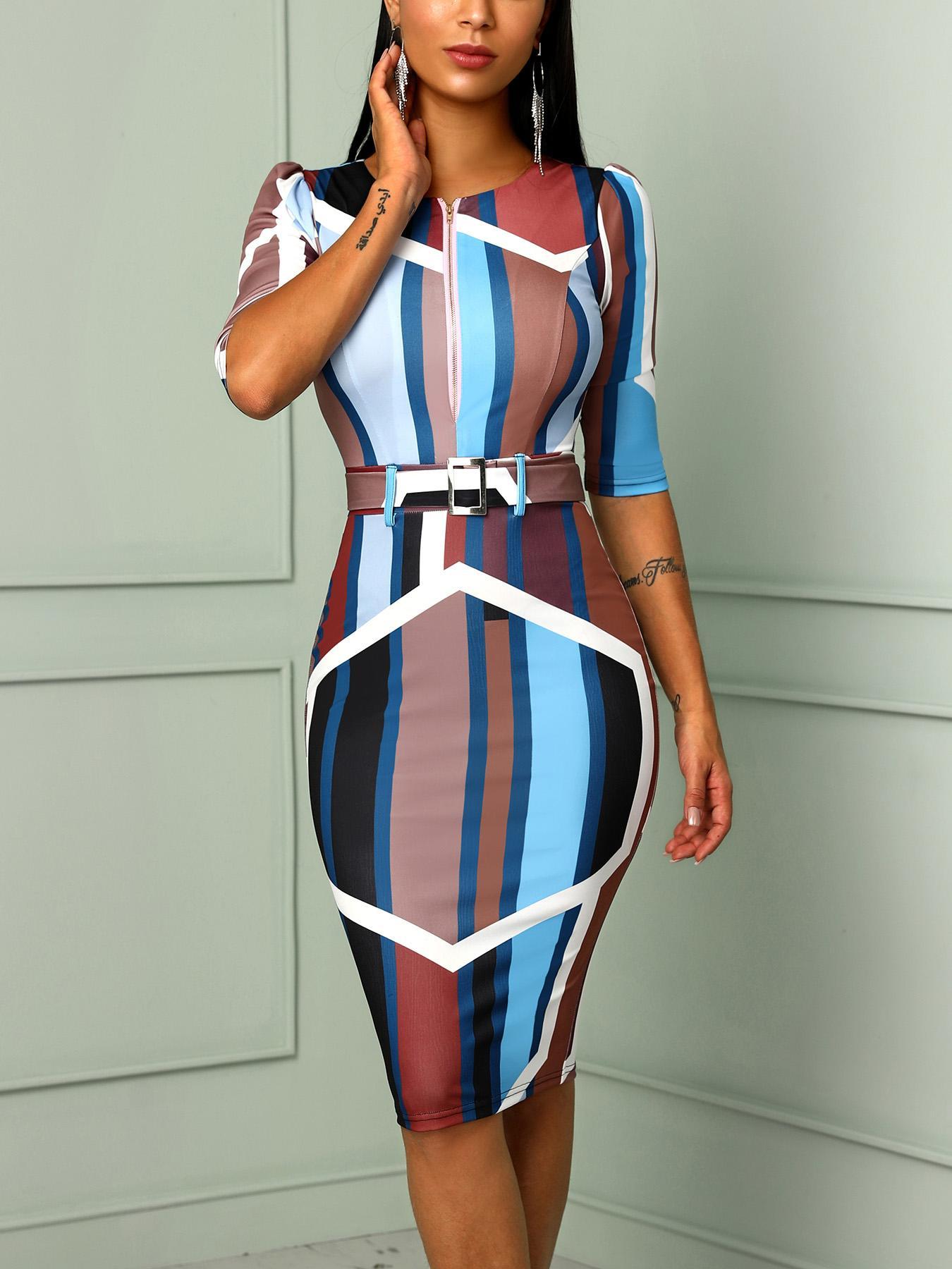 boutiquefeel / Vestido ajustado con cremallera con cinturón y estampado digital