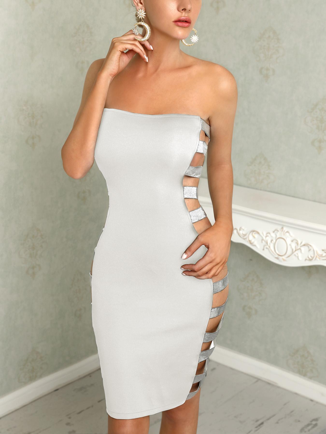 ivrose / Mini vestido sin mangas con abertura en lentejuelas