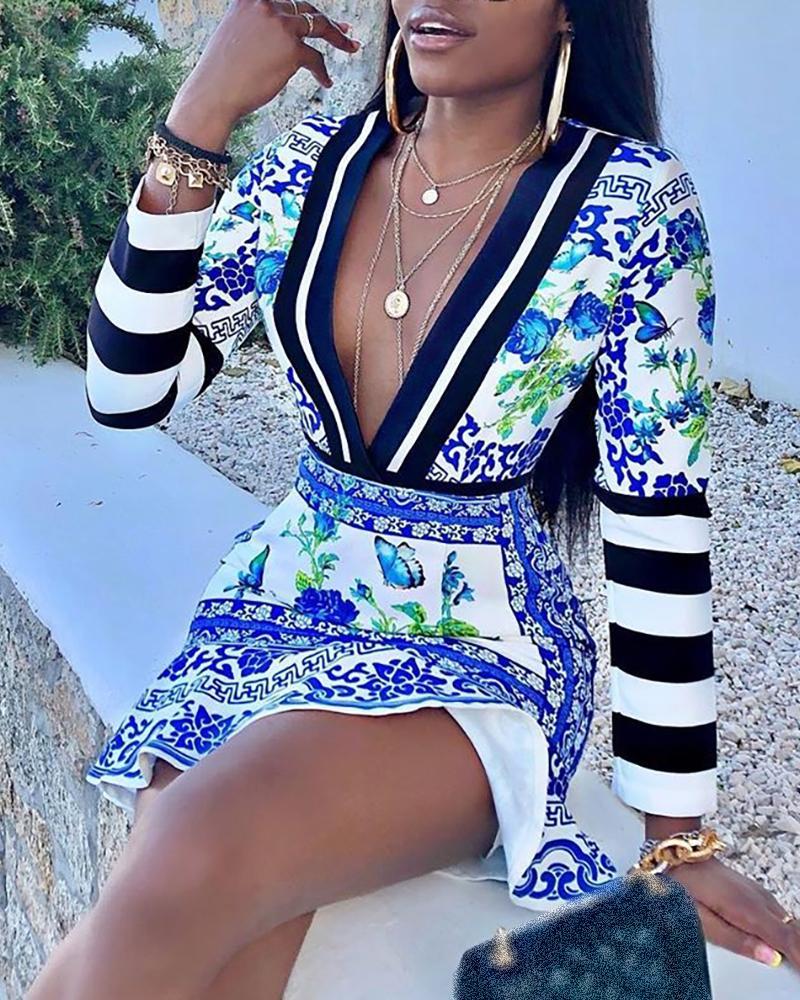 Plunge Striped Porcelain Print Ruffles Dress, Blue