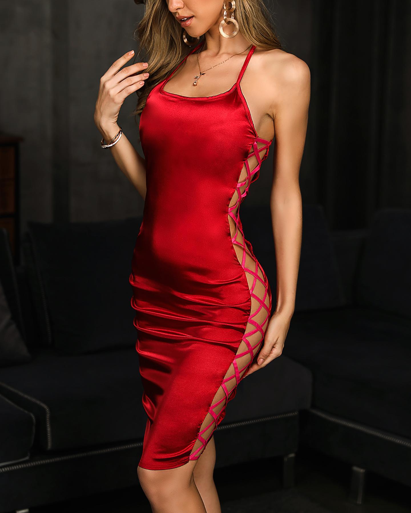 Sexy Side Lace-up Bodycon Mini Dress фото