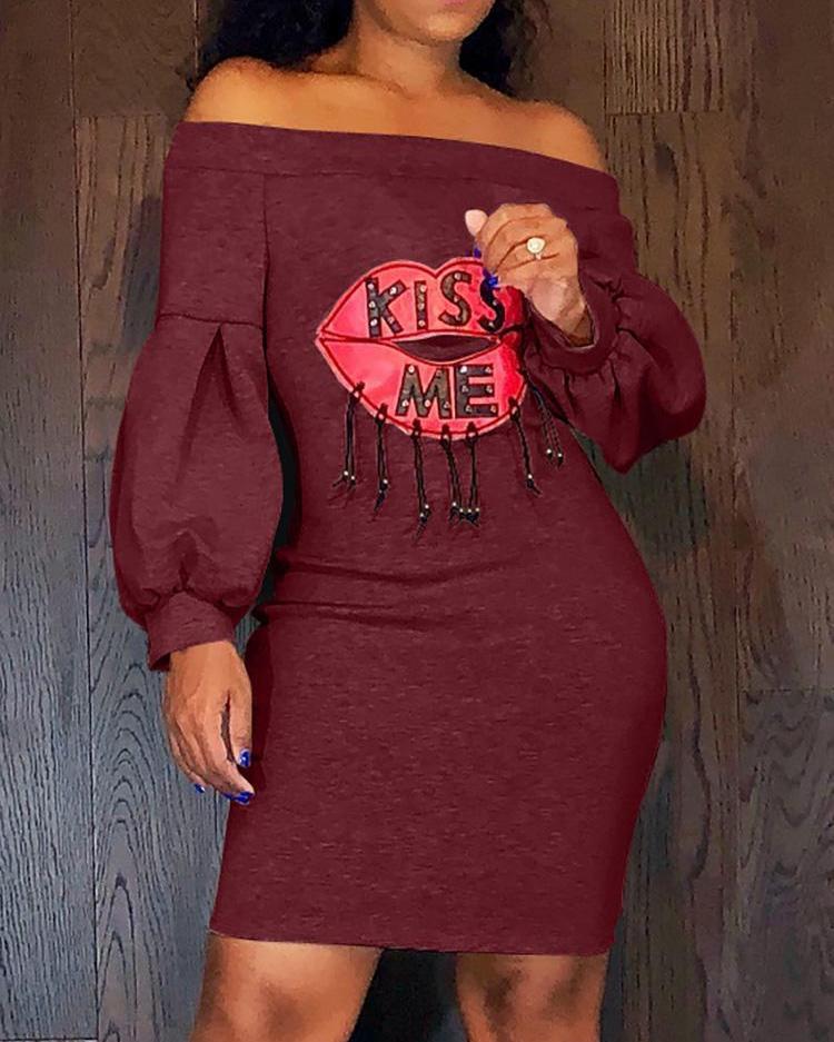 Kiss Me Lip Pattern Off Shoulder Dress