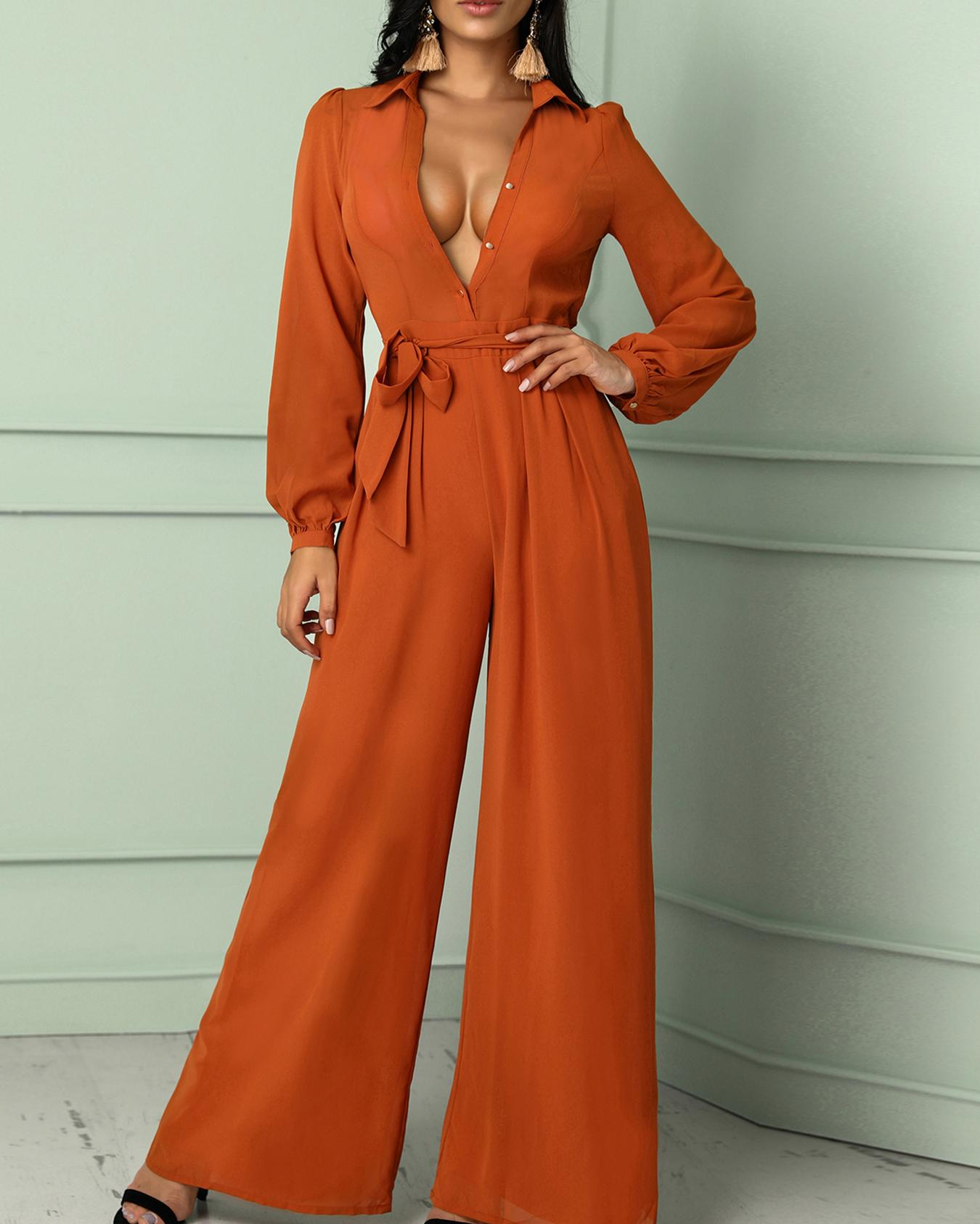 Solid Long Sleeve Belted Wide Leg Jumpsuit