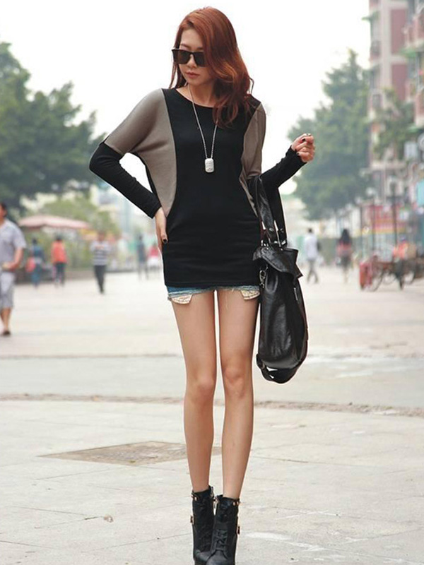 Women Fashion Korean Style Autumn Long Batwing Sleeve Knitted Splicing Scoop Bandage Mini Dress