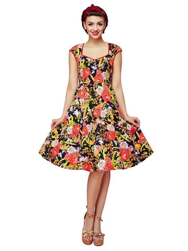 Vintage Rose Pattern Women's 1940s 1950s Classy Floral Pattern Vintage Retro Rockabilly Dress