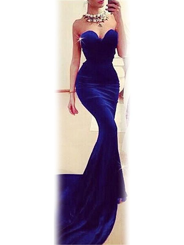 New Sexy Sleeveless Elegant Strapless V Neck Fishtail Dovetail Skirt Praty Weeding Long Evening Dress
